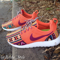 Women's Turf Orange Tribal Custom Roshe Sz 6-10