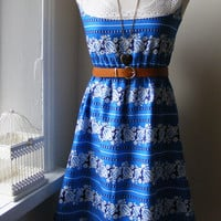 Beautiful Blue Stripe Lace Detail BoHo Cotton Dress / Handmade / Choose Your Size