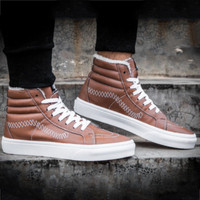 VANS & PLAY Fall Winter Warm Classic Casual Shoes Classic Leather Plus Brown Low Top Skate Shoes F0401-1
