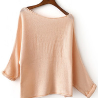 Apricot Shoulder Drop Roll-up Cuff Knit Sweater