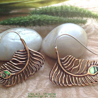 """Tribal Hanging Earrings, """"Copper Frond"""" Copper, Brass/Sterling Posts, Abalone, Handcrafted"""