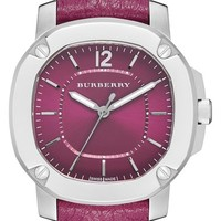 Women's Burberry The Britain Leather Strap Watch, 34mm - Tulip Pink/ Silver