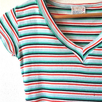 Wms Vintage 60s STRIPED Combed Cotton V NECK Fitted Babydoll Tee Sz XXS