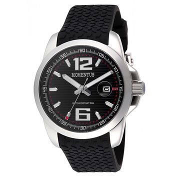 Momentus FS315S-04RB Men's Functional Sport Date Black Dial Black Rubber Strap Watch