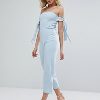 Oh My Love Bardot Culotte Jumpsuit With Tie Sleeves at asos.com