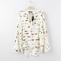 White Butterfly Print Cotton Drawstring Bow Blouse