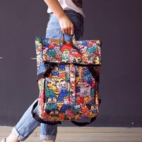 Rdywbu KOREA ULZZANG JAPANESE HARAJUK- Graffiti Printing  Female Cat Canvas Shoulder Bag Large-Capacity Computer Backpack B171