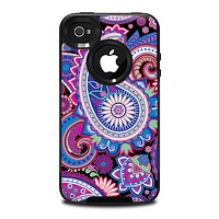 The Vibrant Purple Paisley V5 Skin for the iPhone 4-4s OtterBox Commuter Case
