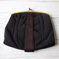 Vintage Black Formal Evening Clutch with Gold Toned Hardware | Made by Mel Ton