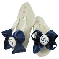 Navy Blue Satin Bow I DO Glitter Wedding Flip Flops