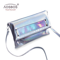 Aosbos Women Foldable PU Leather Handbags High Quality Solid Shoulder Bags Ladies Envelope Messenger Bag Holographic Clutch Bag-in Shoulder Bags from Luggage & Bags on Aliexpress.com   Alibaba Group