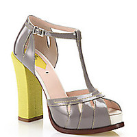 Fendi - Chameleon Patent & Embossed Leather T-Strap Sandals - Saks Fifth Avenue Mobile