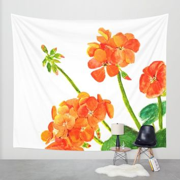 orange geranium Wall Tapestry by Color And Color