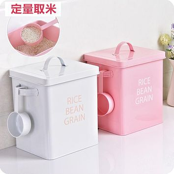 Iron Rice Bucket Household Kitchen Insect-Proof And Moisture-Proof Flour Storage Box 10 Kg Rice Box Large Rice Cabinet