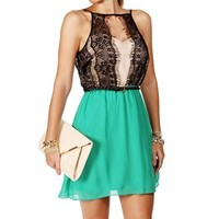 Green Eyelet Lace Colorblock Dress