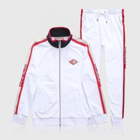 GUCCI 2018 new string raglan sleeve zipper sports jacket two-piece white