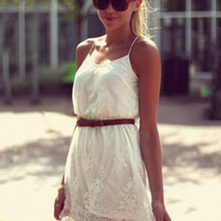White Spaghetti Strap V-neck Embroidered Lace Mini Dress
