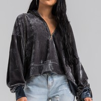 AKIRA Velvet Half Zip Bishop Sleeve Cuffed Drawstring Hoodie in Charcoal
