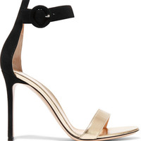 Gianvito Rossi - Suede and metallic leather sandals
