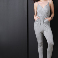 Solid Deep V Surplice Jumpsuit