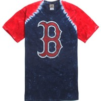NEW WORLD Red Sox Tie Dye T-Shirt - Mens Tee - Lt Blue/Red - Extra Large