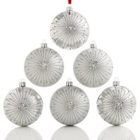 Holiday Lane Set of 6 Shatterproof Silver-Tone Ball Ornaments, Created for Macy's | macys.com