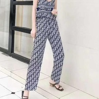 """""""DIOR""""Woman's Leisure  Fashion Letter Personality Printing Strapless Shoulder Open Back Loose Sleeveless Tops Trousers Wide Leg Pants Two-Piece Set Casual Wear"""