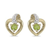 10K Yellow Gold Round Peridot and Diamond Heart Shaped Earrings