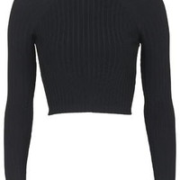 Ribbed Funnel Crop Top - Black