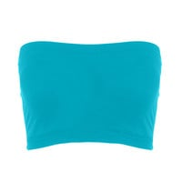 Seamless Crop Tube Top Turquoise