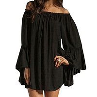 ZANZEA Sexy Slash Neck Off Shoulder Flare Casual Loose Dress