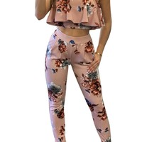 Strapless Flower Print Ruffles Crop Top with Skinny Pants Two Pieces Set