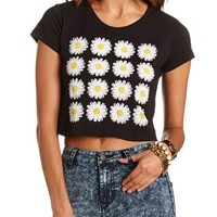 Daisy Grid Graphic Crop Top: Charlotte Russe