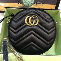 GG Women Fashion Leather Crossbody Round mini Bag Shoulder Bag