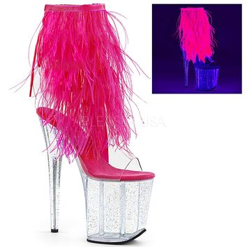 "Flamingo 1017 MMF  Fur Feather Fringe Top  8"" Heel Ankle Boot Pink Neon"