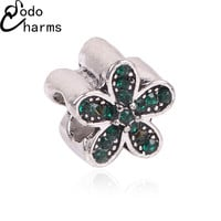 Hot Sale TOP Quality Silver plated Crystal Flower Charm Beads with Crystal Fit Pandora Bracelet Original For Women DIY Jewelry