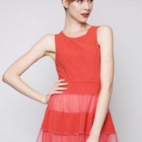 Birthday Bash Contrast Mesh Sleeveless Skater Dress in Tomato | Sincerely Sweet Boutique