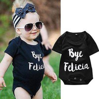 Cute Cotton Baby Girls Infant Black Short Sleeve Letter Romper Clothes Outfits