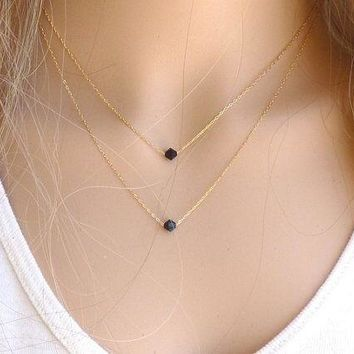 Fashion Gold Silver Black Crystal Glass Geometric Pendant 2 Layer Tassel Necklaces, Lariat Double Layering Personalized Minimalist Bib Collar Choker Statement Satellite Chain Necklace, Bridesmaid Brides Wedding Dainty Delicate Jewelry GIFT = 5987579585