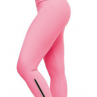 Pink Zipper Cropped Bodycon Yoga Pants