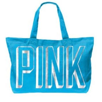 Victoria's Secret PINK Tote Bag Oversized Blue Color + vs bonus pink decal:Amazon:Clothing