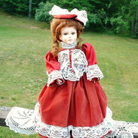 Vintage Victorian Doll Brunette Red Velvet Dress Import 1990s
