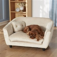 Large Dog Bed Sofa in Oyster White Color - Machine Washable Cushion