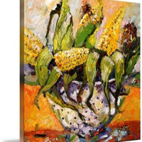 Wall Art Print entitled Corn In Colander Oil Painting By Ginette Callaway by Ginette Callaway