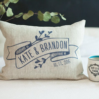 Handmade Personalized  Love Pillow, Pre-washed Linen Couple Cushion, Wedding, Anniversary, Bridal Shower, Gift, PILLOW INSERT INCLUDED