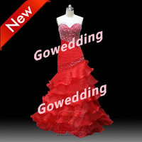 Handmade 2013 Custom Sweetheart Sexy Mermaid Tiered Pleated Beaded Formal Long Prom Evening Party Bridesmaid Cocktail Homecoming Dress Gown