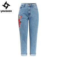 2121 Youaxon High Waisted Boyfriends Mom Jeans With Embroidery Women`s New Vintage Denim Pants Jeans For Women Jean