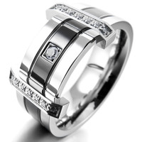 Men's Stainless Steel Rings Band CZ Silver Black Wedding Charm Elegant Free Shipping
