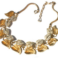 """Corocraft Necklace 40s Gold and Silver Rhinestone Leaf Necklace Adjustable from 13"""" to 16"""" - Signed Coro Vintage Jewelry"""