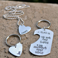 A Dad Is..- Personalized Hand Stamped 3 Piece Set for a Father, His Son, & His Daughter